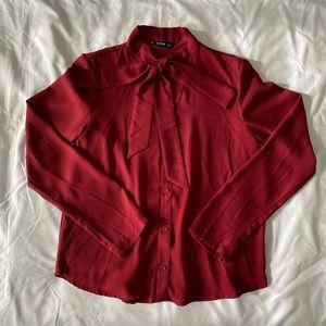 Dark Red Tie Neck Button Down Blouse